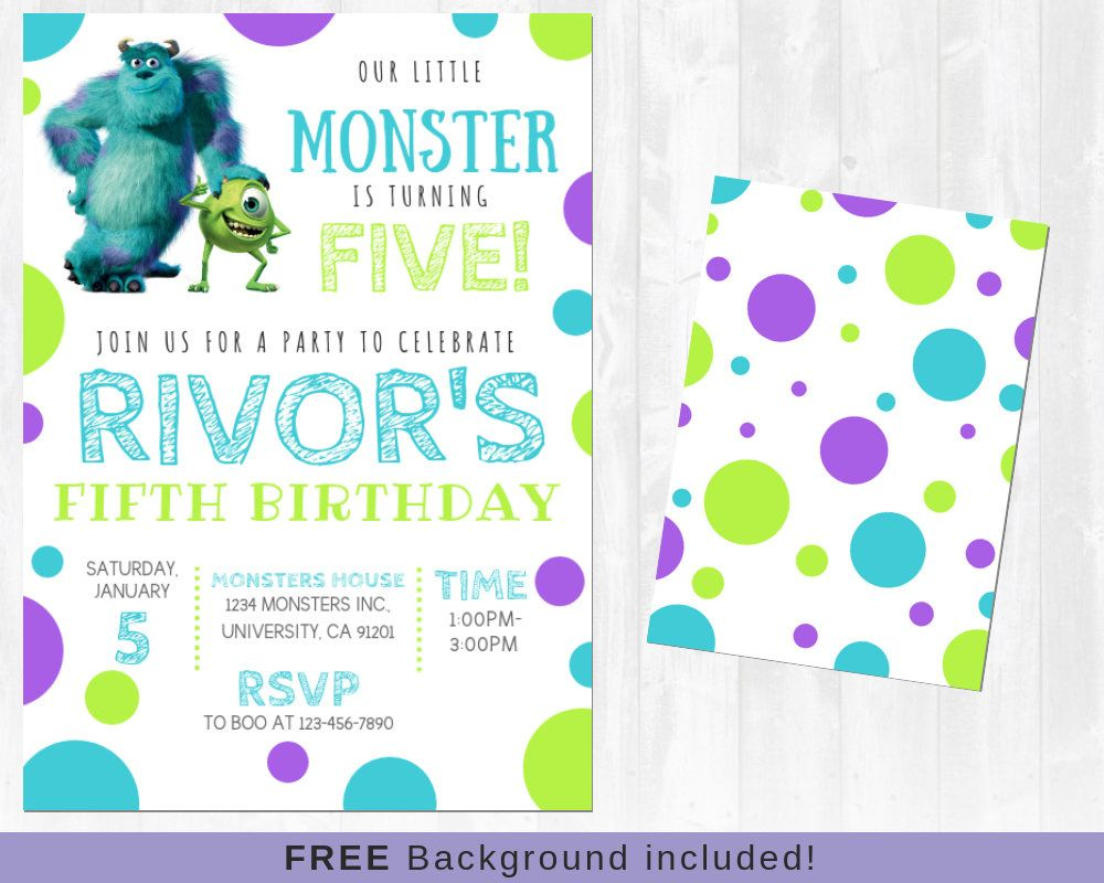 Monsters Inc invitation, Sully and Mike, Monsters University ...