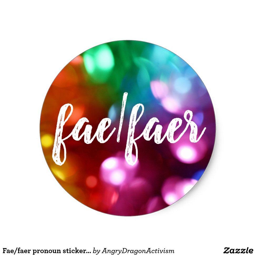 Fae faer pronoun sticker can customize stickers design art illustration bumpersticker bumper