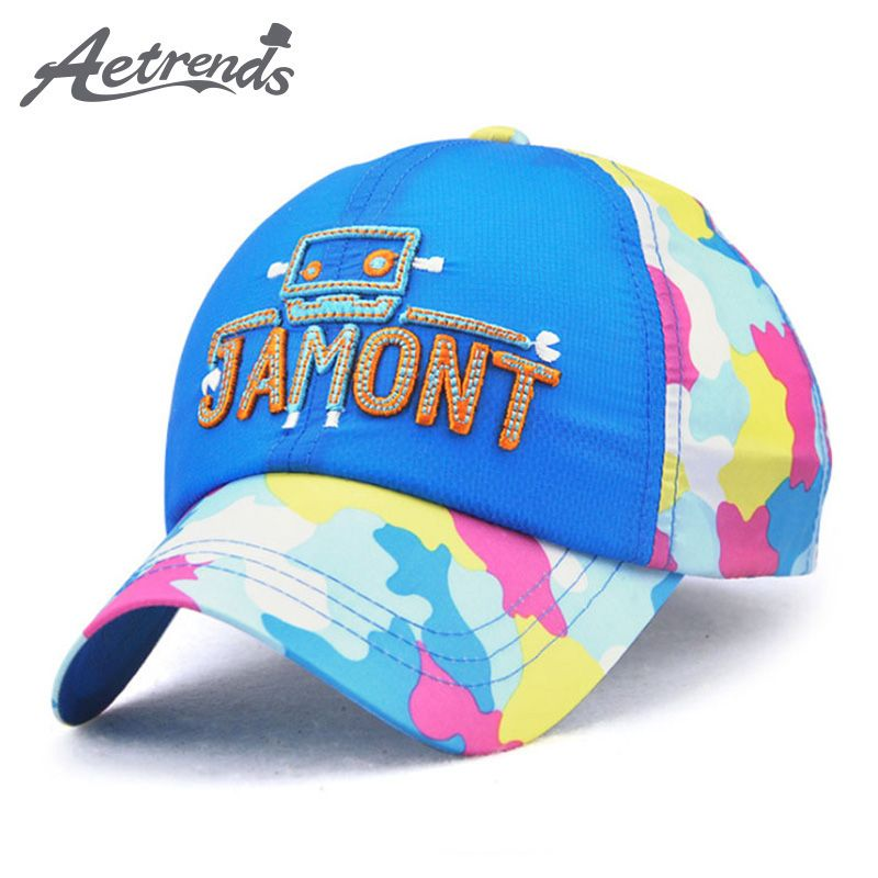 AETRENDS  2017 New Summer Thin Breathable Kids Baseball Caps Mesh Hats  Quick Drying Hats 31dce9f7102f
