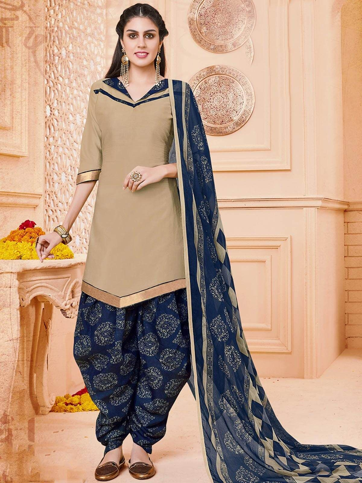 Spunky Beige And Navy Blue Casual Wear Cotton Patiyala Salwar Suit