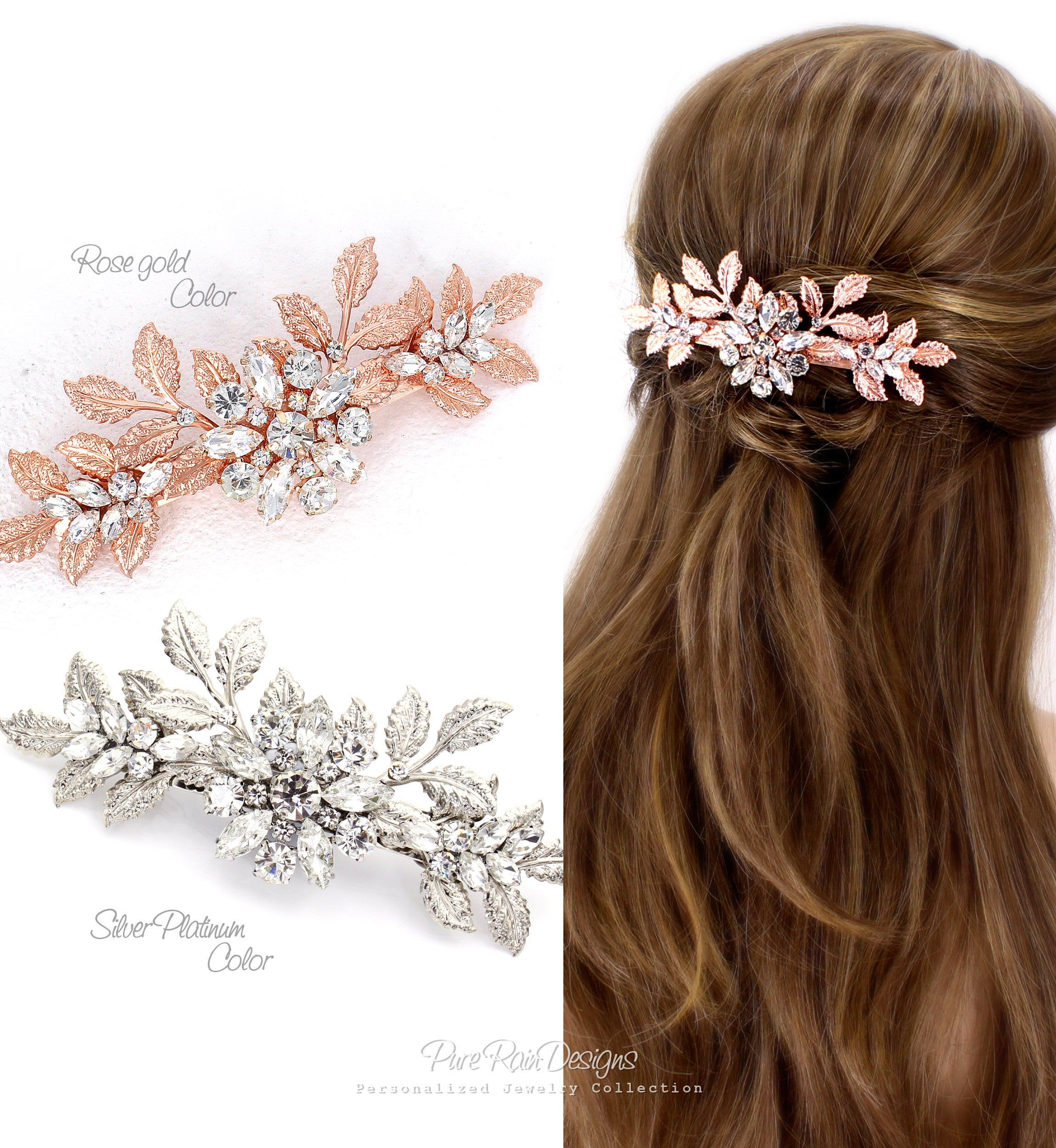 Rose Gold Rhinestone Wedding Hair Comb Wedding Jewelry Bridal Hair Comb Headpiece Hair Accessory Daisy Hair Clip Bridal Jewelry Bridesmaid