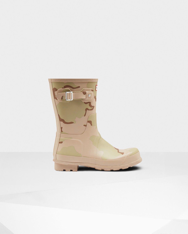 HUNTER Men's Original Short Desert Camo Rain Boots PALE