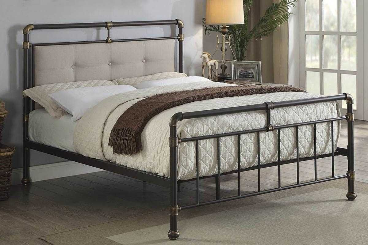 Oxford Industrial Scaffold Brown Metal Fabric Bed Frame Single