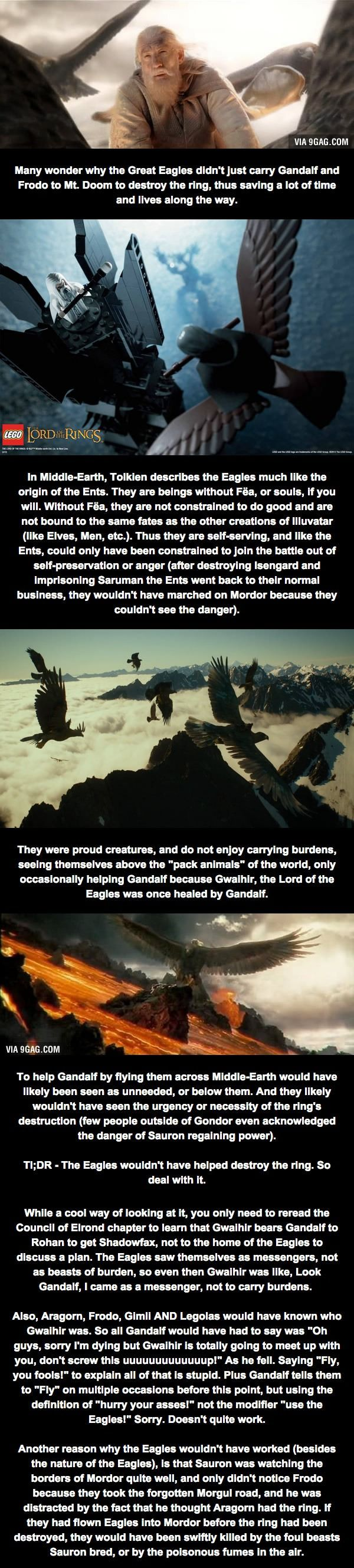 Relatively Unknown LoTR Fact (Part 1) - The Great Eagles. That theory that has been running around about Gandalf and the Eagles has annoyed me more than I can say. Please read this!!!