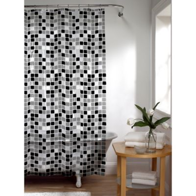 Tiles Shower Curtain In Black White