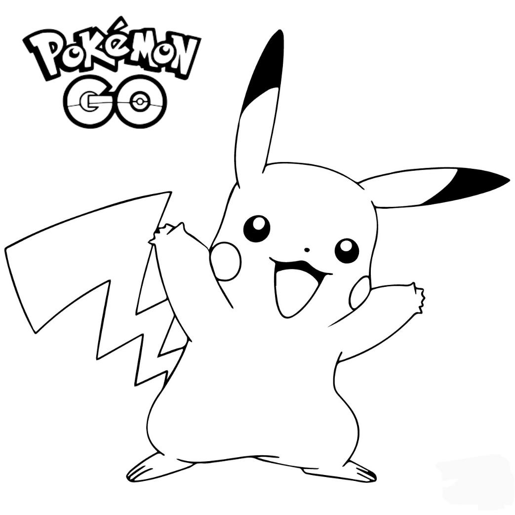 Detective Pikachu Pokemon GO celebrating coloring page cartoon