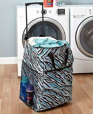 laundry hamper portable rolling basket bag dorm clothes storage