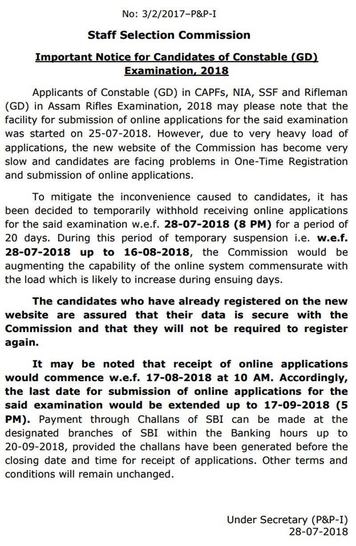 SSC GD Constable recruitment 2018 Online registration