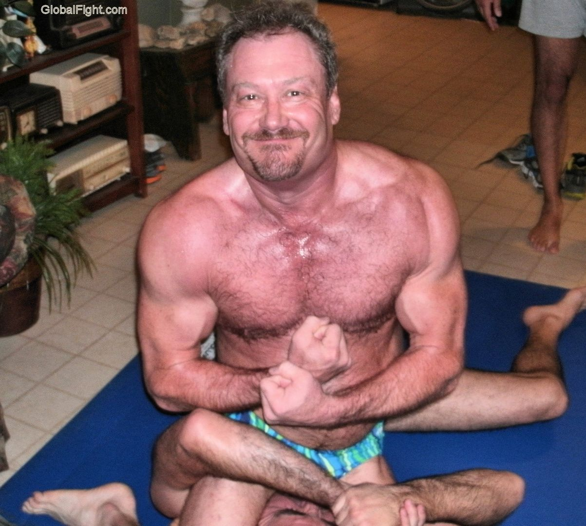 Mature men wrestling