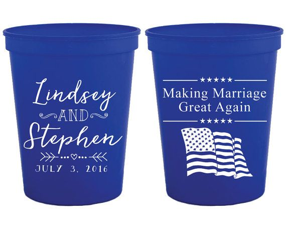 Wedding Cups 4th of July Cups Fun Wedding Favors July 4th Wedding ...