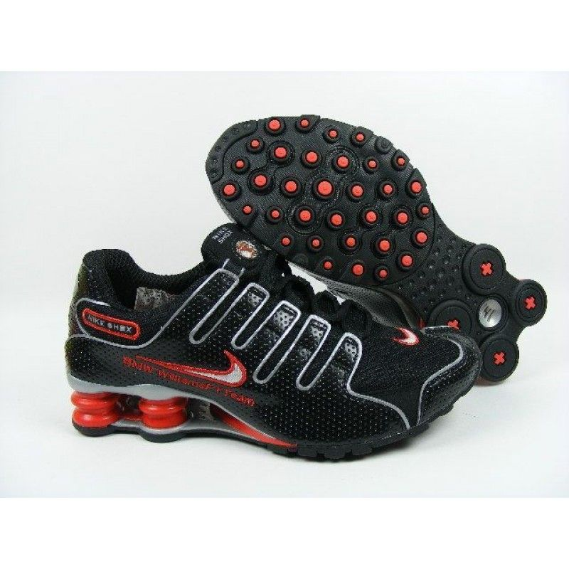 promo code a4d41 c23f3 Nike Shox NZ, Nike Shox Shoes Womens Nike Shox NZ Perforated Leather Black Red  Grey  Womens Nike Shox NZ - Red element is utilized contrasting sharply  with ...