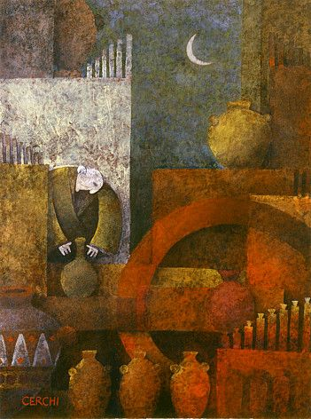 "Galleria scorrevole.                                          Sergio Cerchi, italian painter (Firenze), ""Potter"", gouache."