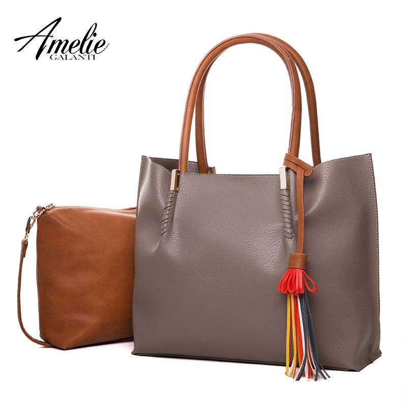 3d370a06f214 AMELIE GALANTI New Fashion Shoulder Bags For Women High Quality Casual Totes  Solid Composite Bag