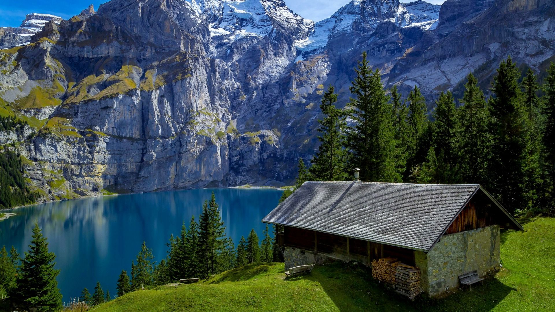 Download Wallpaper Sunny Switzerland Mountains Trees Benches Lake House Hill Forest Rocks Wood Section Landscapes In R Fotografi Alam Fotografi Alam