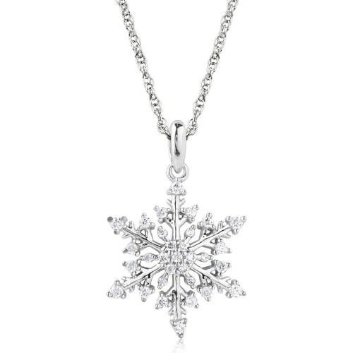 Snowflake 1 4 Carat T W Diamond 10k Gold Pendant White Diamond Earrings Diamond Infinity Necklace Beautiful Jewelry