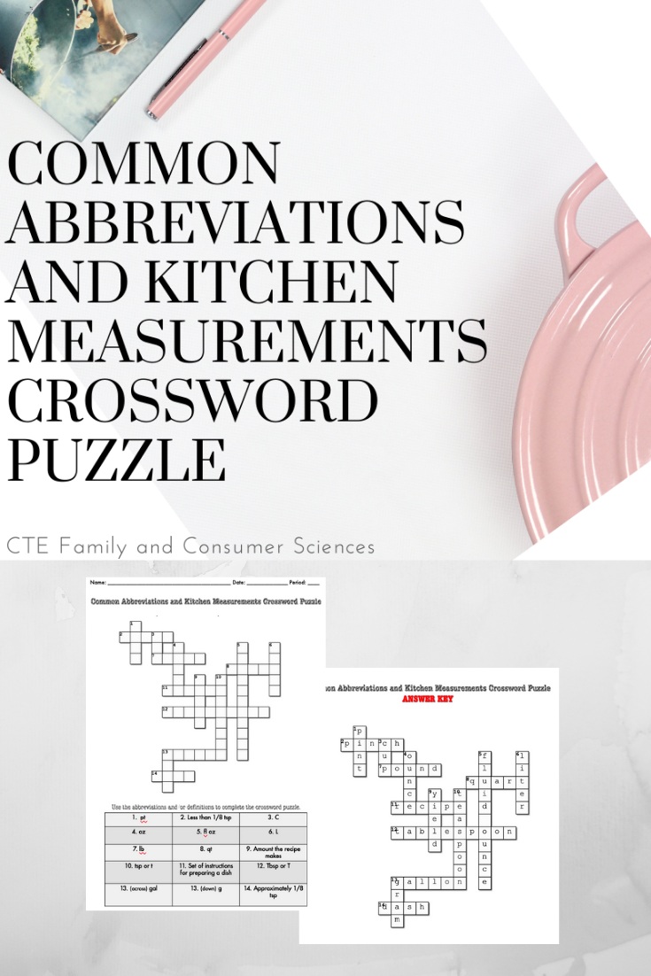 Abbreviations And Measurements Crossword Puzzle Culinary Arts