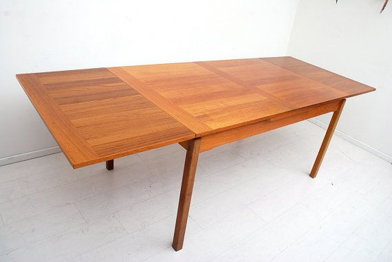 Mid Century Danish Modern Teak Dining Table Extendable  Danishes Unique Scandinavian Teak Dining Room Furniture Design Ideas