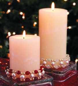 how to decorate a candle with beads