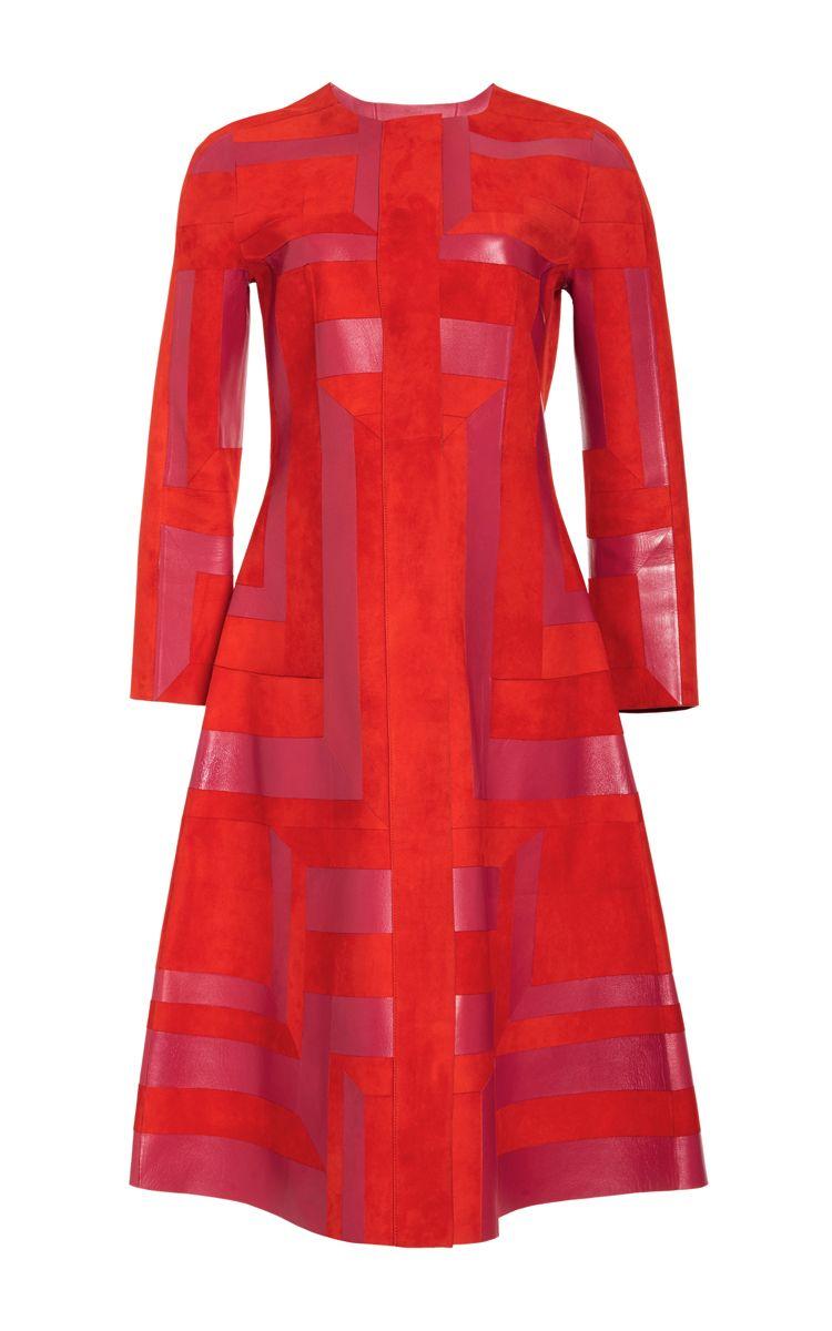 Jewel Neck A-Line Coat - Oscar de la Renta Resort 2016 - Preorder now on Moda Operandi