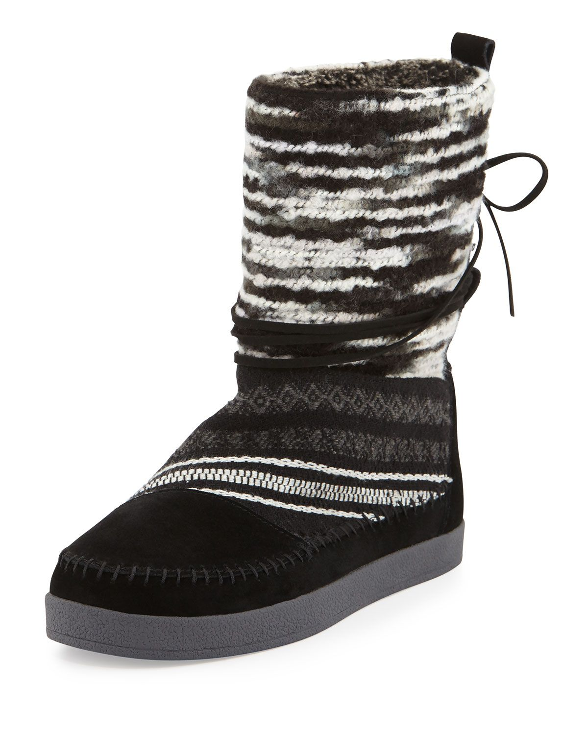 1836a45713d TOMS Nepal Striped Suede Boot, Black, Girl's, Size: 37.5B/7.5B ...