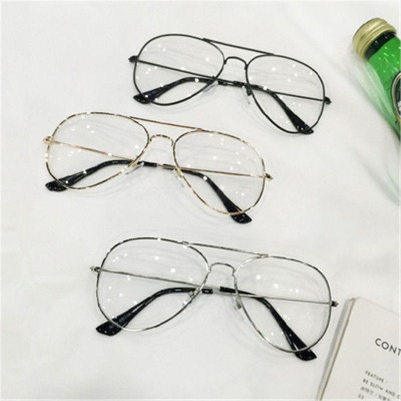 Clear Glasses Retro Eyeglasses Metal Gold Myopia Eyewear Women Men ...