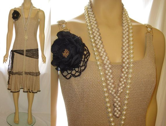 Beige Dress Picture Collection: Gold And Beige Color The Great Gatsby Dress, 1920s Flapper