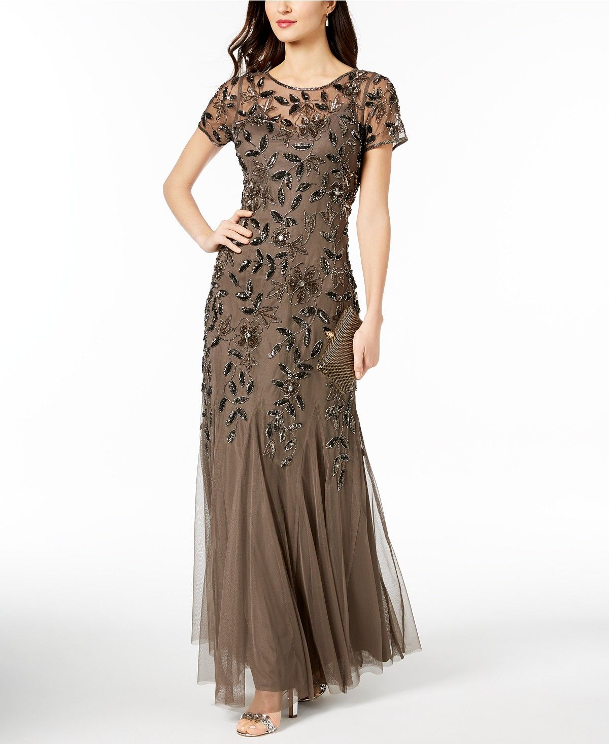Adrianna Papell Floral Beaded Gown Reviews Dresses Women Macy S Womens Dresses Beaded Gown Evening Dresses With Sleeves