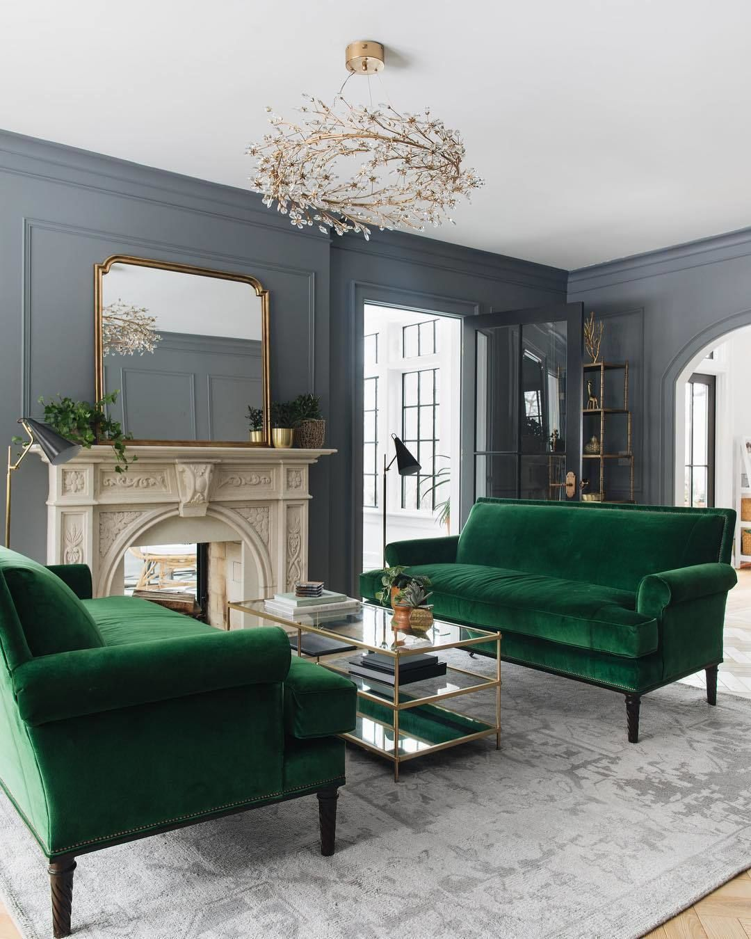 Chairish On Instagram I Ve Never Met A Bottle Green Velvet Sofa I Didn T Like This Luxe Transitional Living Rooms Farm House Living Room Living Room Paint