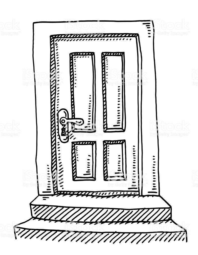 Hand Drawn Vector Drawing Of A Closed Door Black And White Sketch On Alice In Wonderland Drawings Drawings Art Drawings Simple