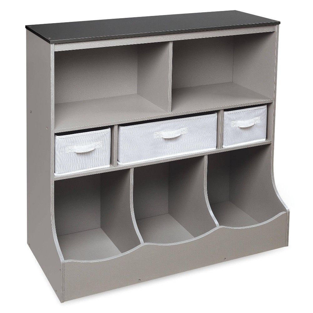Combo Bin Storage Unit With Three Baskets Gray Badger Basket