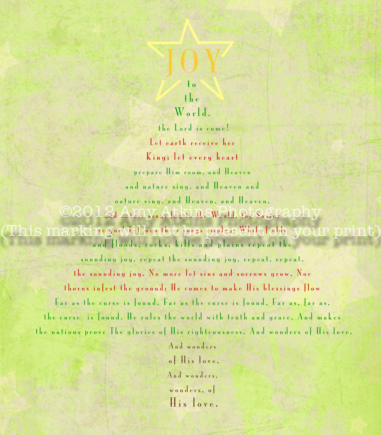 Must get this! Christmas Tree shape with lyrics to JOY TO THE WORLD! Original print in different ...