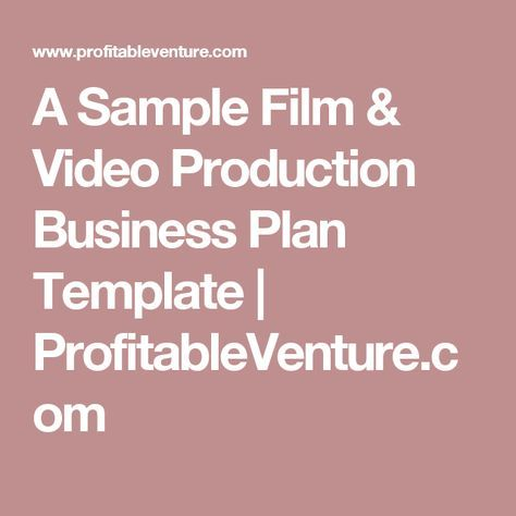 A sample film video production business plan template a sample film video production business plan template profitableventure flashek Images