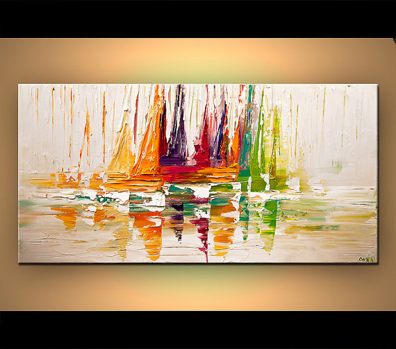 Colorful sailboats Poster on Photographic Paper - The Sail - 48x24 - Art by Osnat #framesandborders