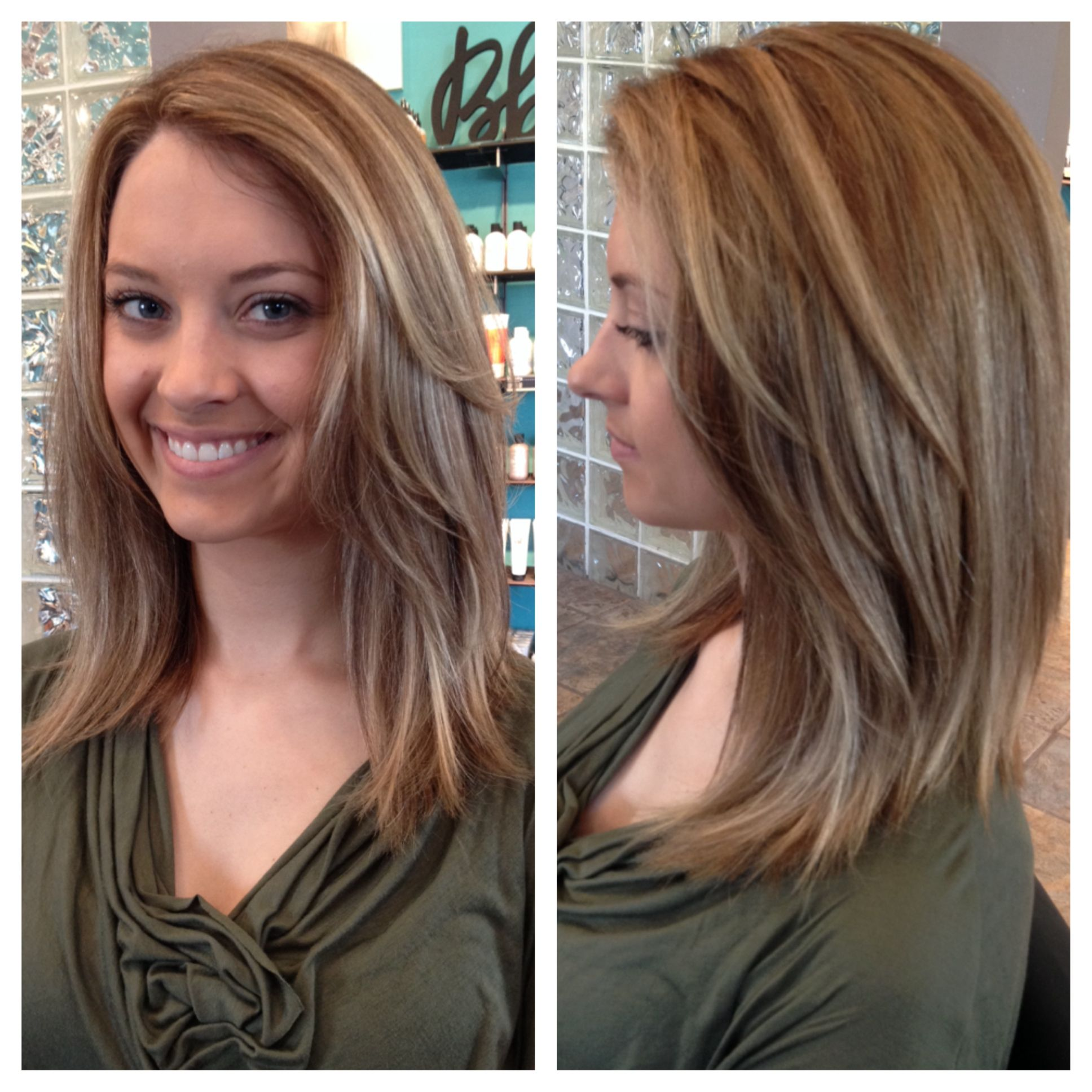 Highlights and lowlights on a long inverted bob haircut