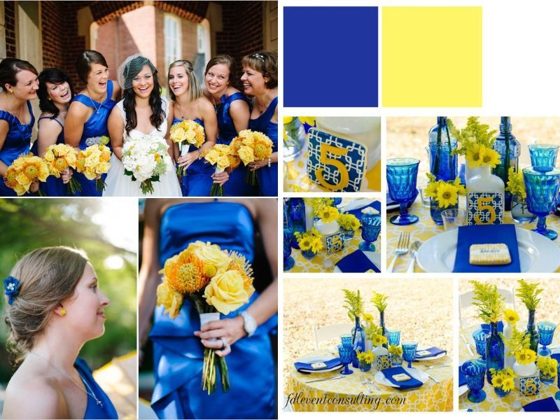 Cobalt Blue And Yellow Wedding