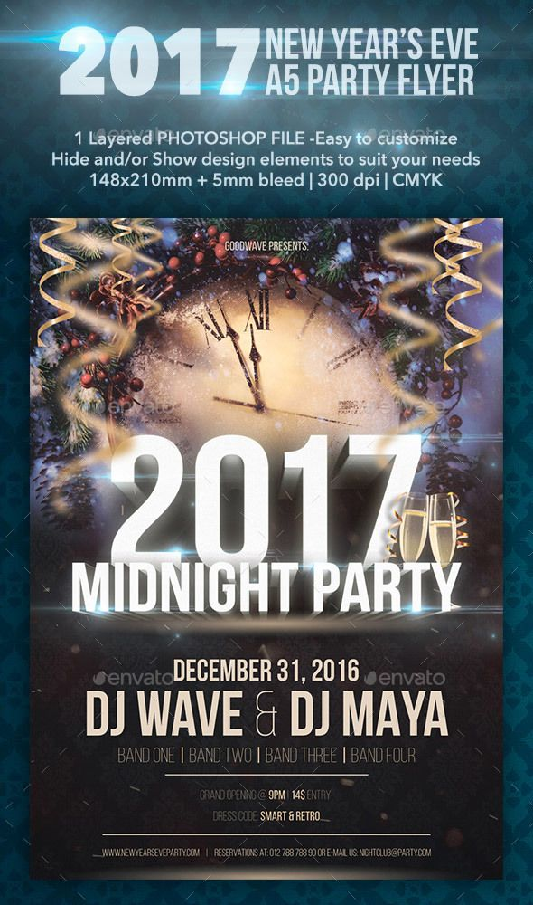 2017 New Yearu0027s Eve A5 Party Flyer Party flyer, Flyer template - new year brochure template