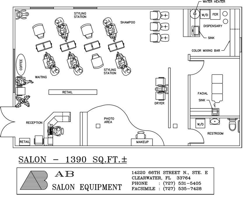 beauty salon design plans view