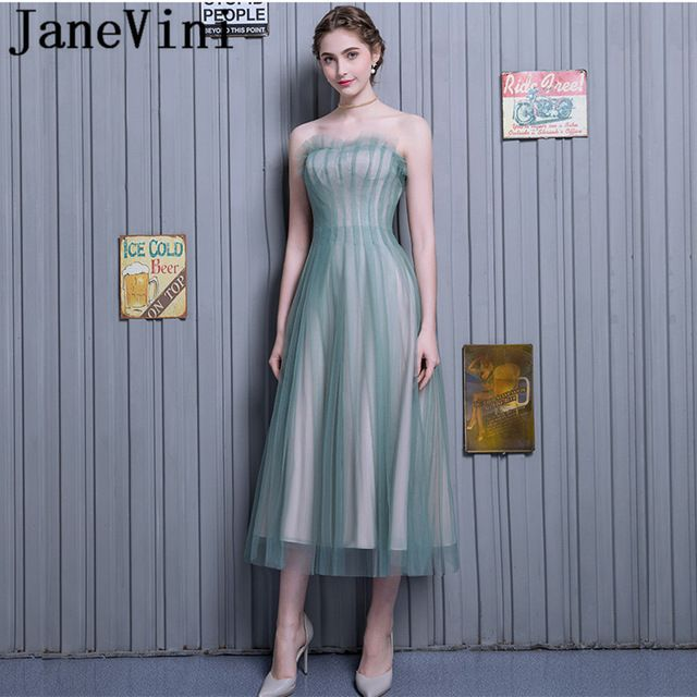 85cc32befe6ada JaneVini 2018 Simple A-Line Long Bridesmaid Dresses Strapless Lace-up Back  Prom Party Gowns Ankle Length Bruiloft Jurk Dames