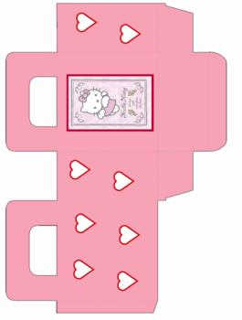 Molde gratis de cajita de hello kitty para imprimir.