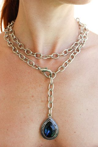 SALE! Tear Drop Wrap - Silver Chain with Blue Stone