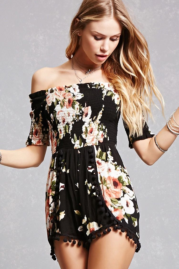 Floral · A stretchy knit romper featuring an elasticized off-the-shoulder  ruffled neckline, an