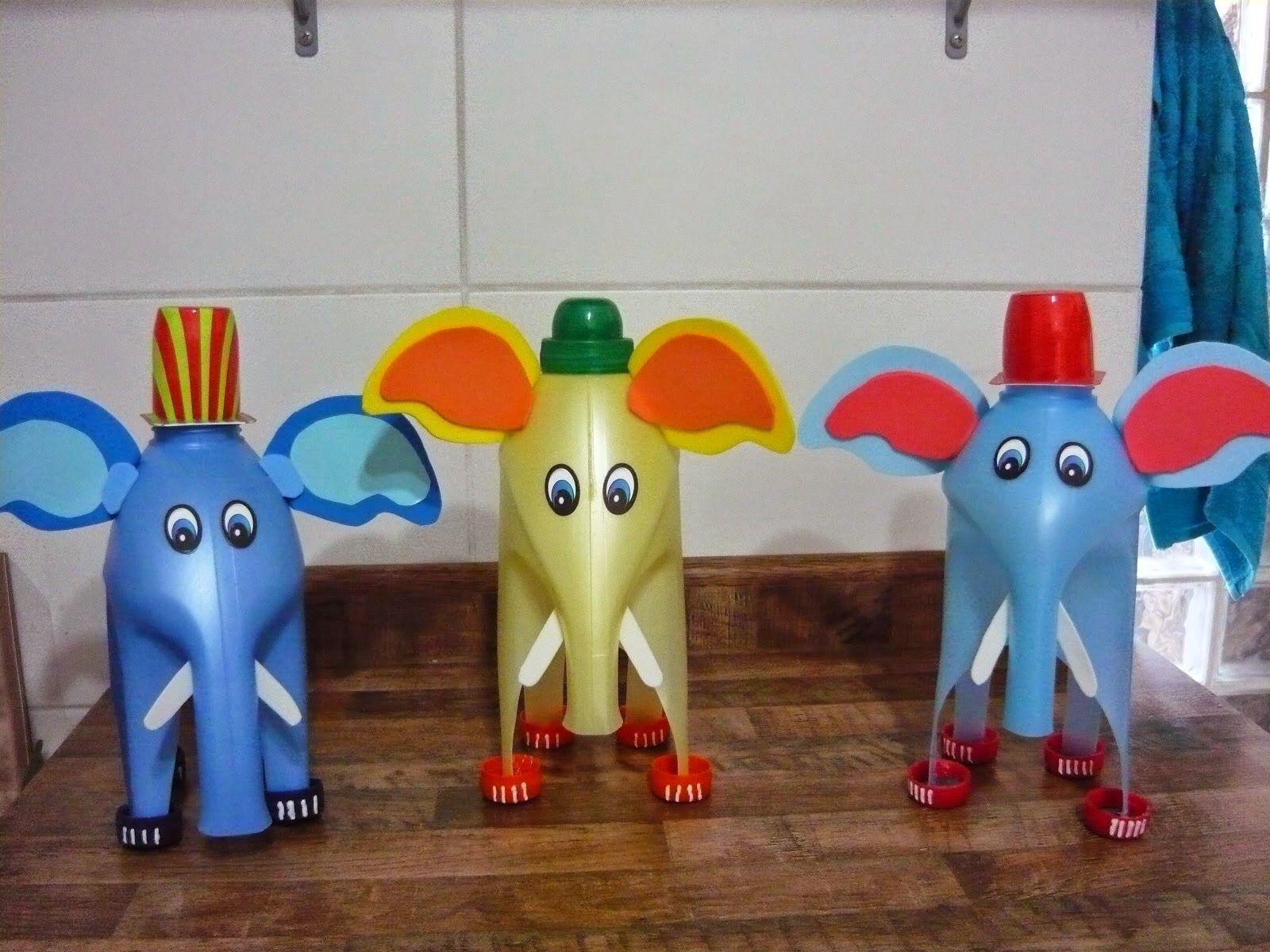 Elefante feito com garrafa de amaciante elefantes feitos - Como hacer plastico liquido ...