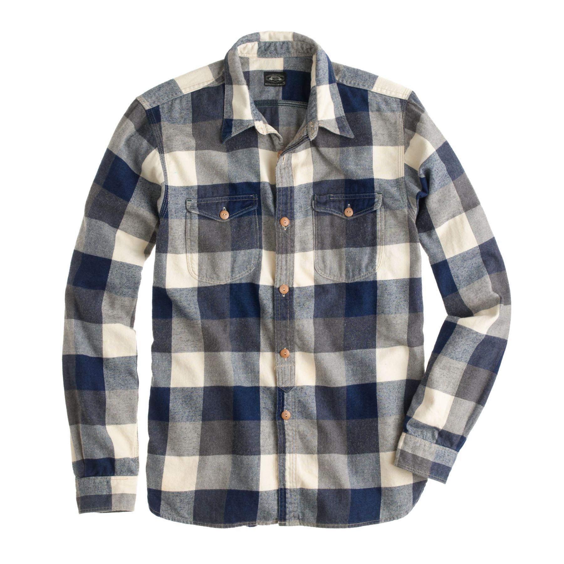Flannel shirt men outfit  JCrew menus shuttle notes indigo buffalo flannel shirt  style