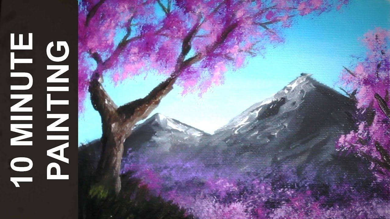 Painting A Cherry Blossom Tree Along The River With Acrylics In 10 Minutes Youtube Night Sky Painting Landscape Painting Lesson Landscape Painting Tutorial