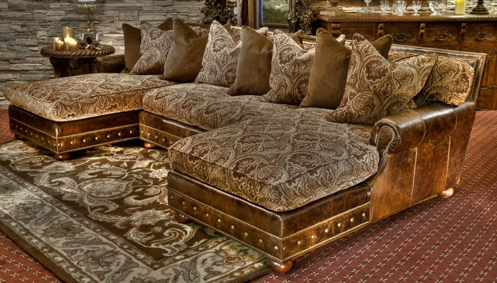 Charmant The Light Leather And Tapestry Mix With The Nail Head Trim Makes This Set  Appealing In An Old World Setting As Well ...