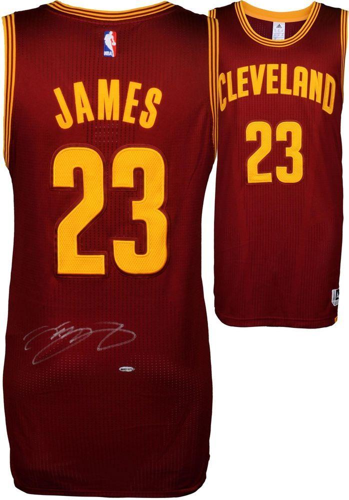 separation shoes cb5d8 48816 LeBron James Cleveland Cavaliers Autographed Red Authentic ...
