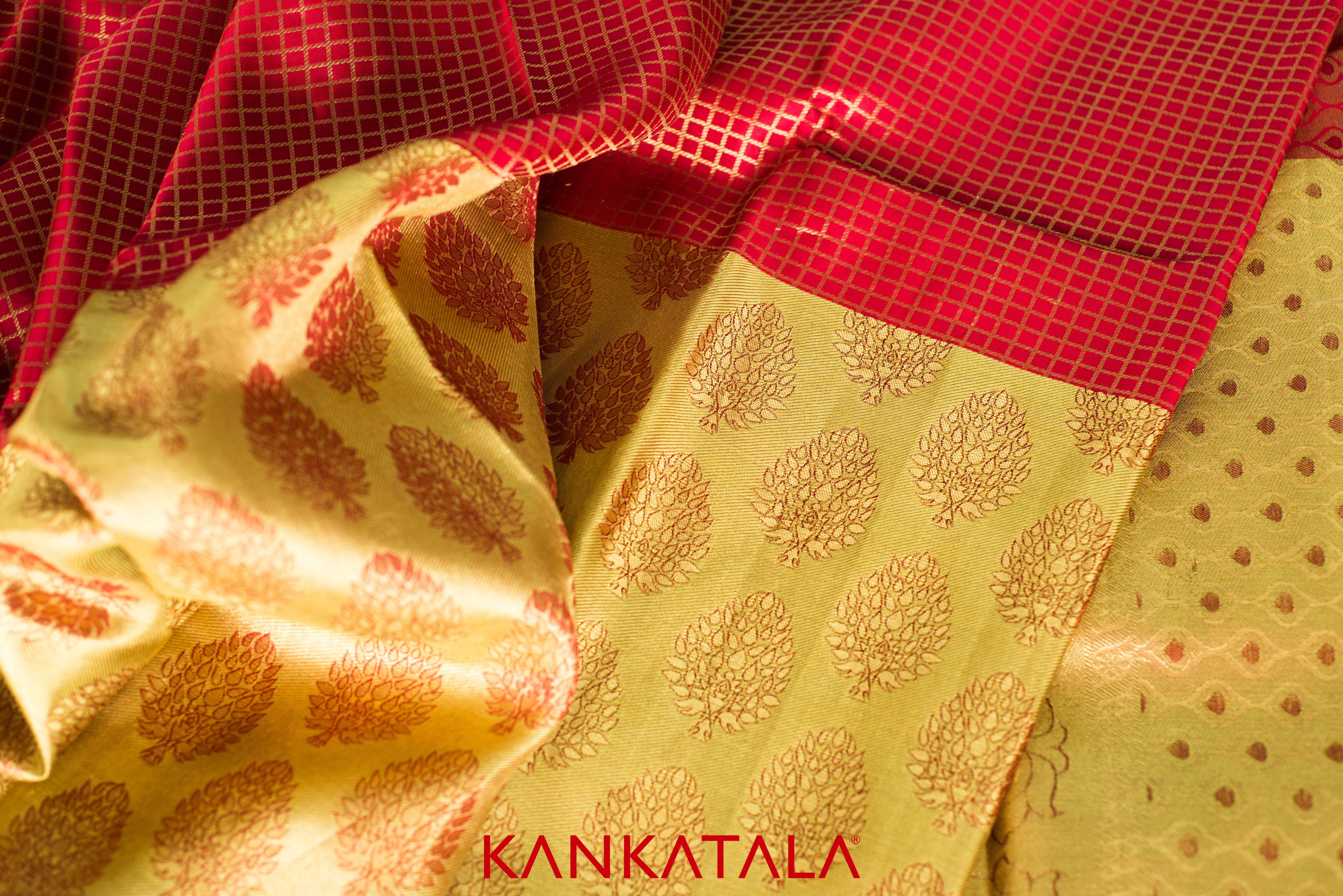 Gold Tissue And Kumkum Red  Auspicious Wedding Colours In