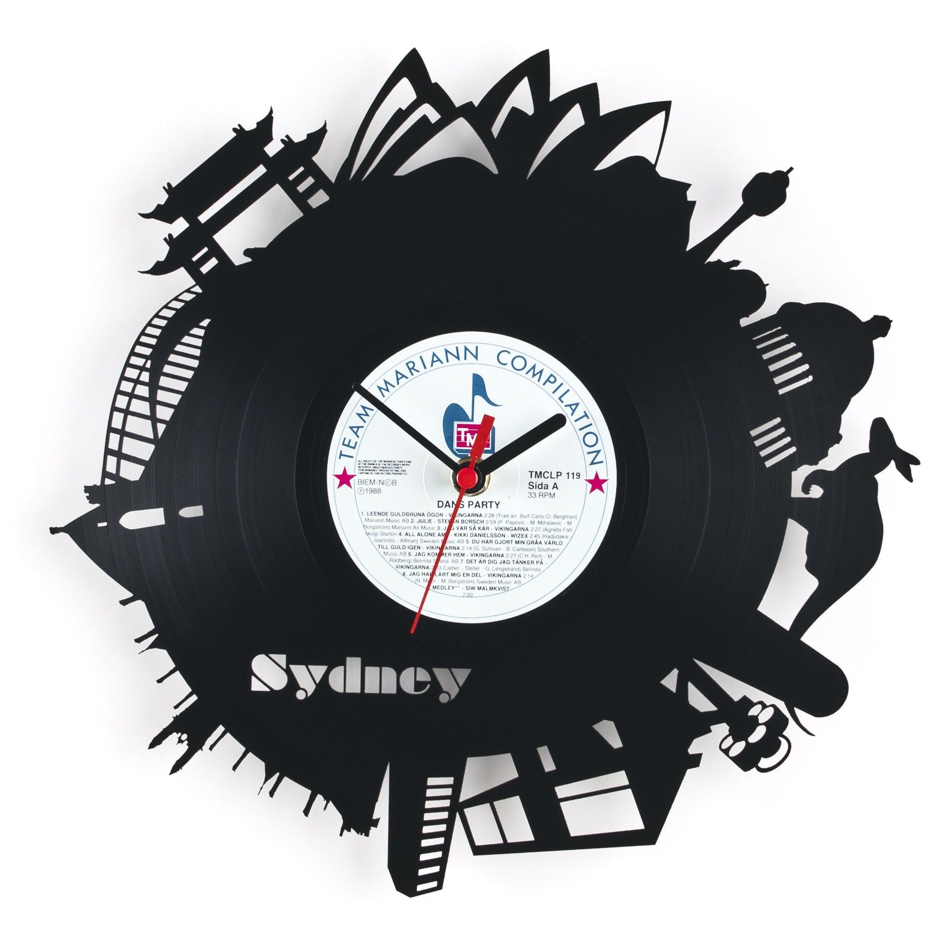 Vinyl wall clock made out of a real 12 acrylic disc record incredible unique wall clocks australia pictures wall decor world amipublicfo Image collections