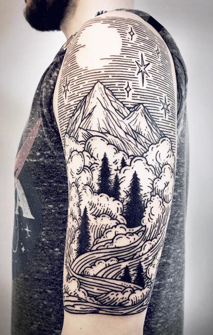 Linework Landscape Tattoos Lisa Orth Landscape Tattoo Woodcut Tattoo Line Work Tattoo