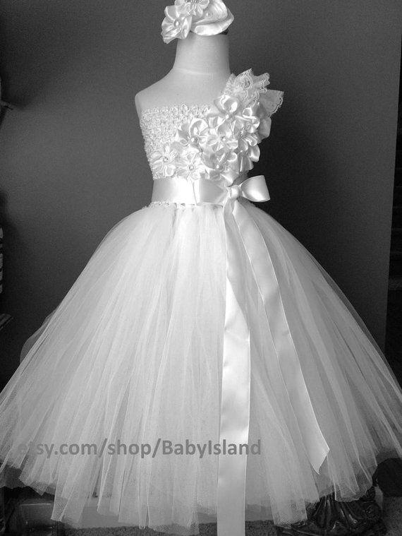 Artículos similares a Flor vestido de niña 1 tutu niña de cumpleaños ...